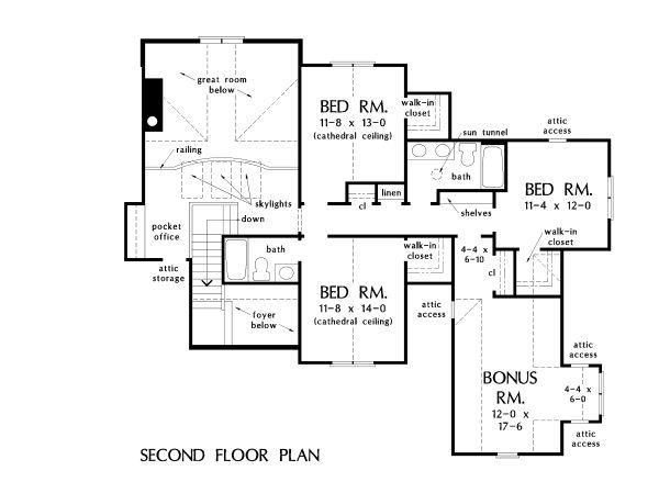 Craftsman Floor Plan - Upper Floor Plan Plan #929-1051