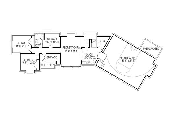 Craftsman Floor Plan - Lower Floor Plan Plan #920-23