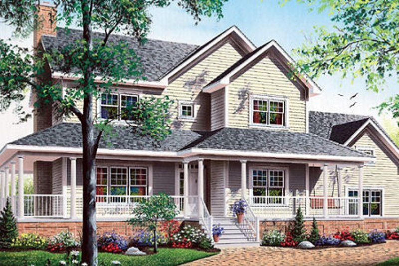 Country Style House Plan - 3 Beds 2.5 Baths 2129 Sq/Ft Plan #23-369 Exterior - Front Elevation