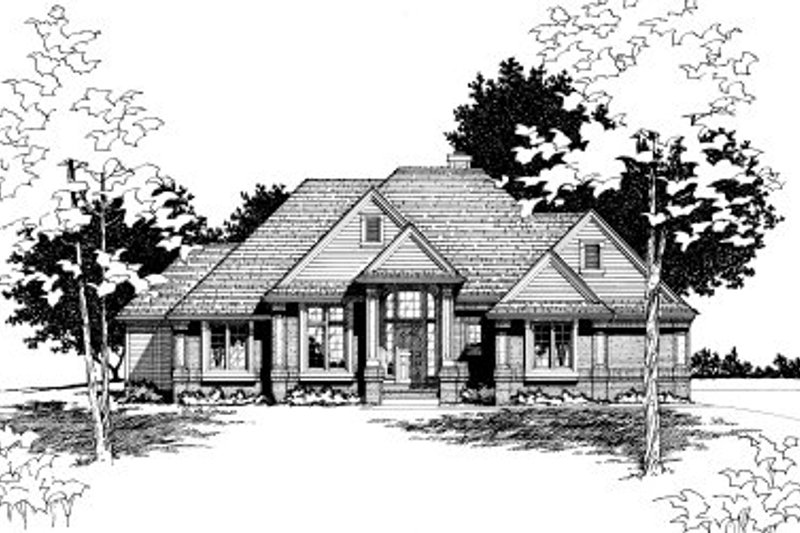 Traditional Style House Plan - 3 Beds 2.5 Baths 2186 Sq/Ft Plan #20-145 Exterior - Front Elevation