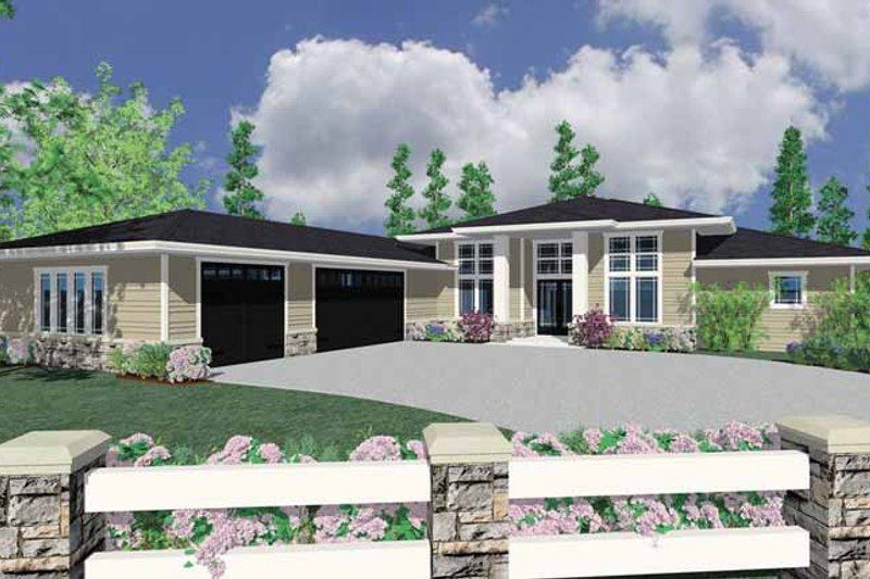 Prairie Exterior - Front Elevation Plan #509-417 - Houseplans.com