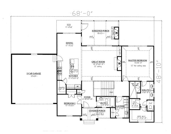 Craftsman Floor Plan - Main Floor Plan Plan #437-94