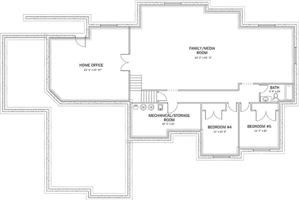 Ranch Floor Plan - Lower Floor Plan Plan #1060-26