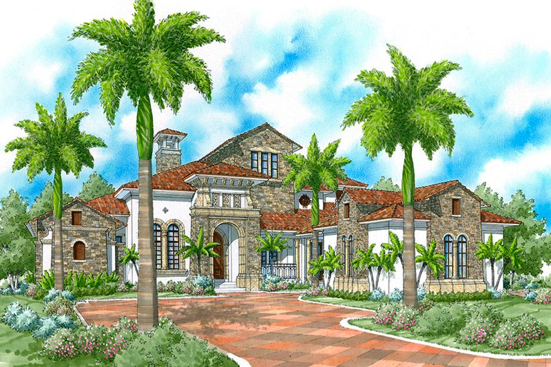 Architectural House Design - Mediterranean Exterior - Front Elevation Plan #930-492