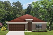 Mediterranean Style House Plan - 4 Beds 3 Baths 1990 Sq/Ft Plan #1058-57 Exterior - Front Elevation
