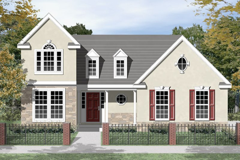 Colonial Exterior - Front Elevation Plan #1053-32