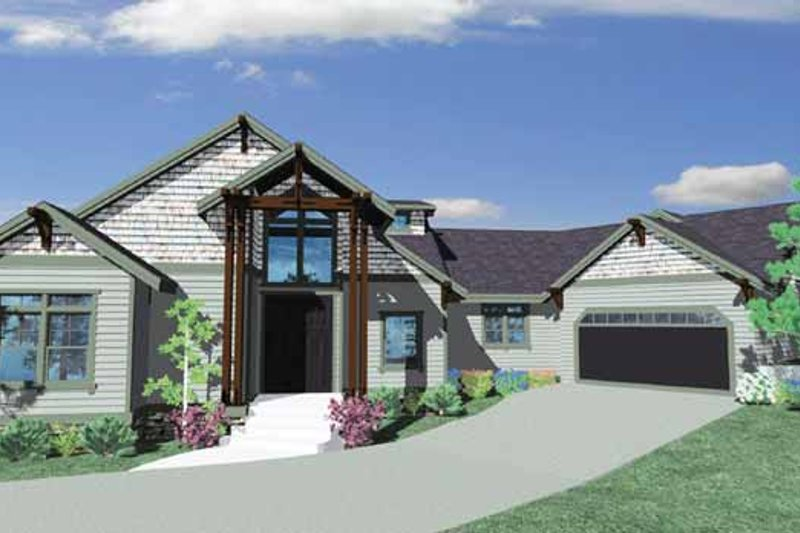 Prairie Exterior - Front Elevation Plan #509-371