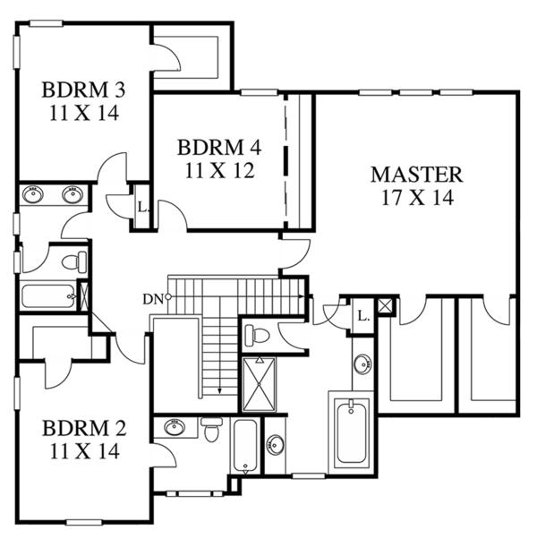 Colonial Floor Plan - Upper Floor Plan Plan #1053-64