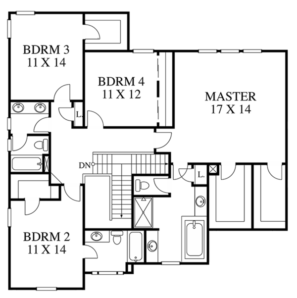 Colonial Floor Plan - Upper Floor Plan #1053-64