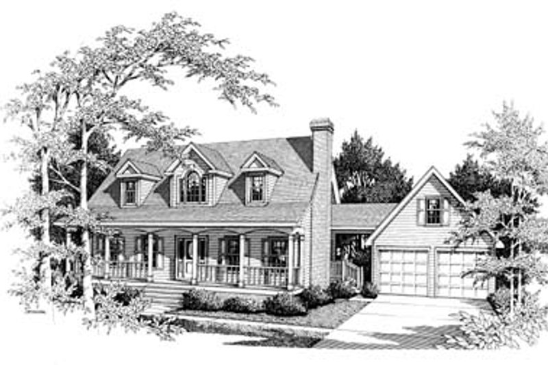 Colonial Style House Plan - 3 Beds 2.5 Baths 1784 Sq/Ft Plan #10-201 Exterior - Front Elevation