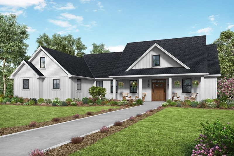 Farmhouse Style House Plan - 3 Beds 2.5 Baths 2104 Sq/Ft Plan #48-980 Exterior - Front Elevation