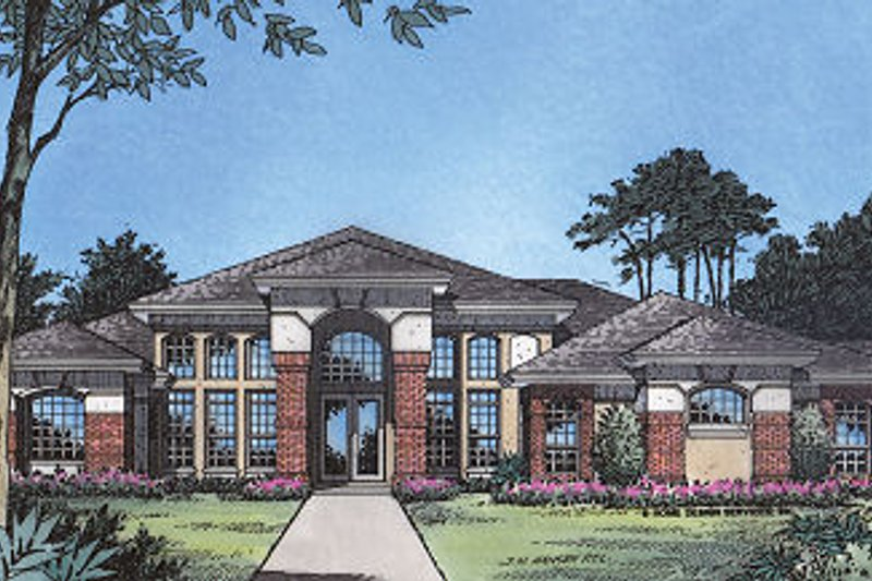 European Style House Plan - 4 Beds 3 Baths 2597 Sq/Ft Plan #417-292 Exterior - Front Elevation