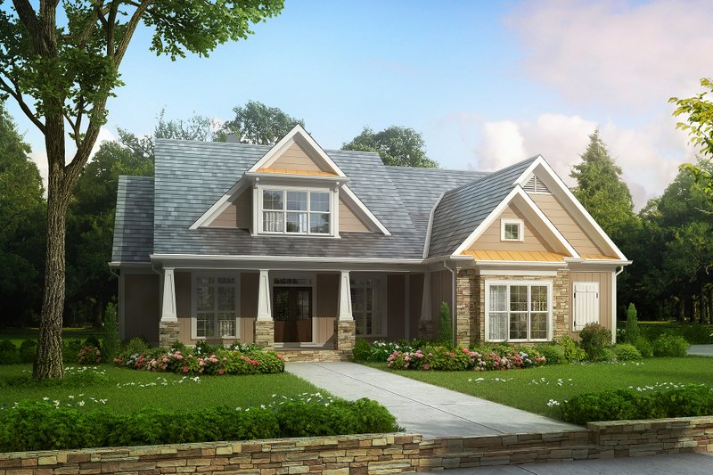 Craftsman Style House Plan - 4 Beds 3.5 Baths 2619 Sq/Ft Plan #927-4 Exterior - Front Elevation