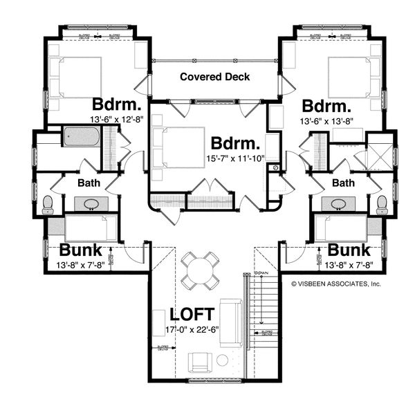 Country Floor Plan - Upper Floor Plan Plan #928-4