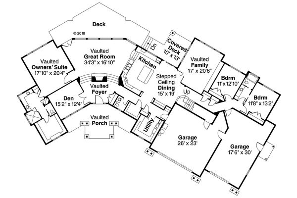 House Plan Design - Craftsman Floor Plan - Main Floor Plan #124-1148