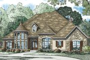 European Style House Plan - 4 Beds 3 Baths 3090 Sq/Ft Plan #17-3386 Exterior - Front Elevation