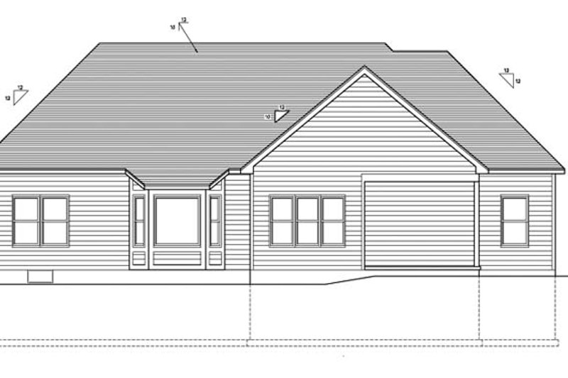 Ranch Exterior - Rear Elevation Plan #1010-74 - Houseplans.com