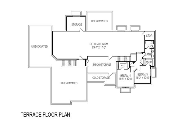 Contemporary Floor Plan - Lower Floor Plan Plan #920-15