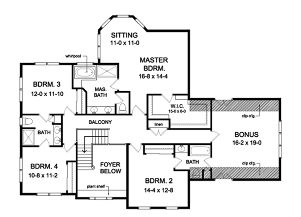 Colonial Floor Plan - Upper Floor Plan Plan #1010-174