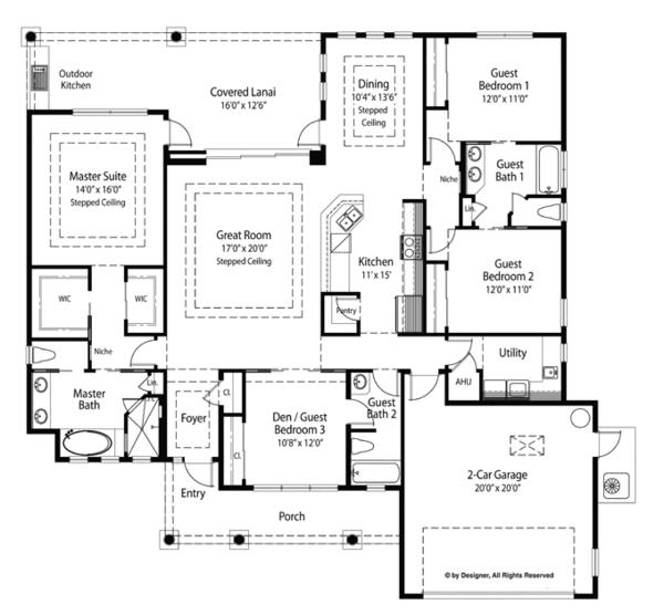 Mediterranean Floor Plan - Main Floor Plan Plan #938-70