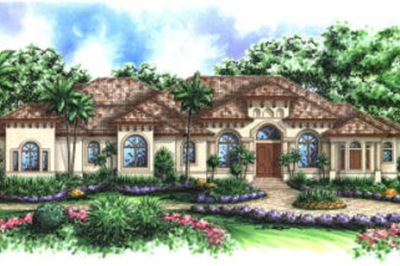 Mediterranean Style House Plan - 5 Beds 4.5 Baths 4354 Sq/Ft Plan #27-375 Exterior - Front Elevation
