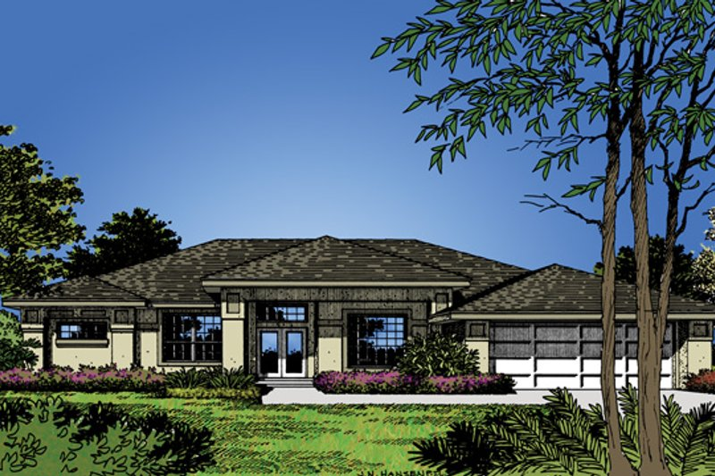 Prairie Exterior - Front Elevation Plan #417-483