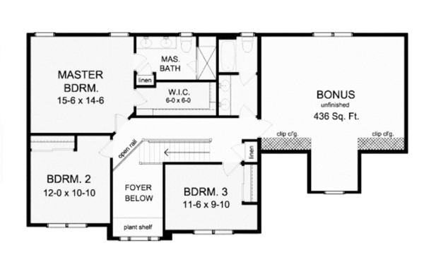 Classical Floor Plan - Upper Floor Plan Plan #1010-11