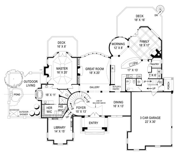 House Plan Design - European Floor Plan - Main Floor Plan #119-419