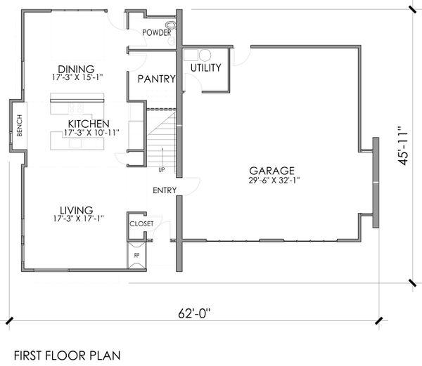 Modern Floor Plan - Main Floor Plan Plan #518-5