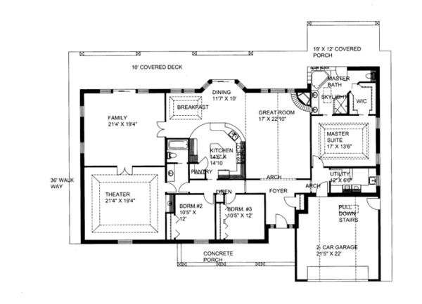Architectural House Design - Ranch Floor Plan - Main Floor Plan #117-852