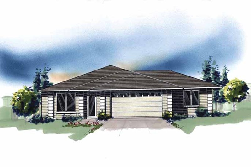 Prairie Exterior - Front Elevation Plan #509-248
