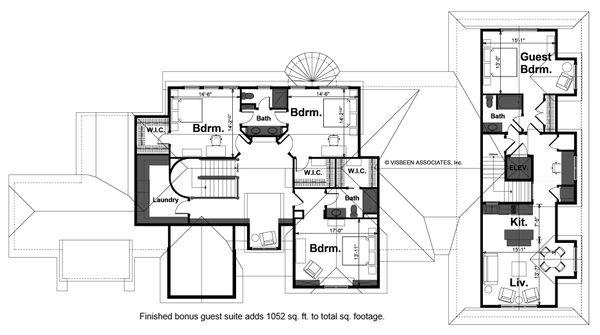 European Style House Plan - 4 Beds 3.5 Baths 5107 Sq/Ft Plan #928-66 Floor Plan - Upper Floor Plan