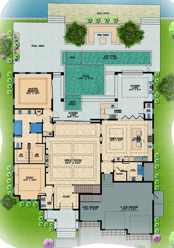 Contemporary Floor Plan - Main Floor Plan Plan #548-21