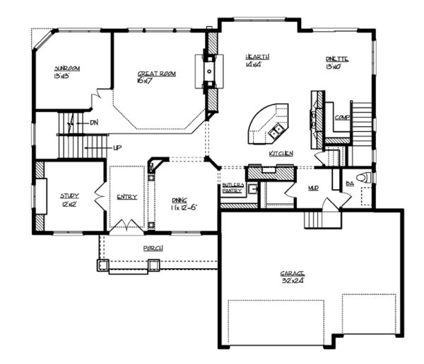 Traditional Floor Plan - Main Floor Plan Plan #320-990