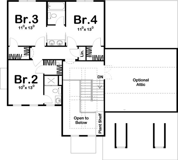 Traditional Style House Plan - 4 Beds 3.5 Baths 2317 Sq/Ft Plan #455-214 Floor Plan - Upper Floor Plan