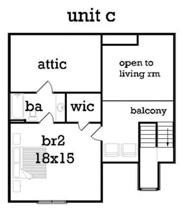 Traditional Floor Plan - Upper Floor Plan #45-452