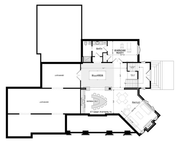 Craftsman Floor Plan - Lower Floor Plan Plan #928-295