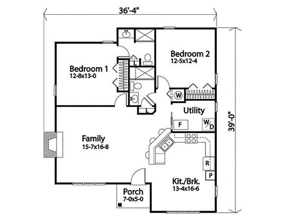 Dream House Plan - Cottage Floor Plan - Main Floor Plan #22-589