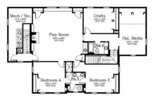 Mediterranean Floor Plan - Upper Floor Plan Plan #1058-86