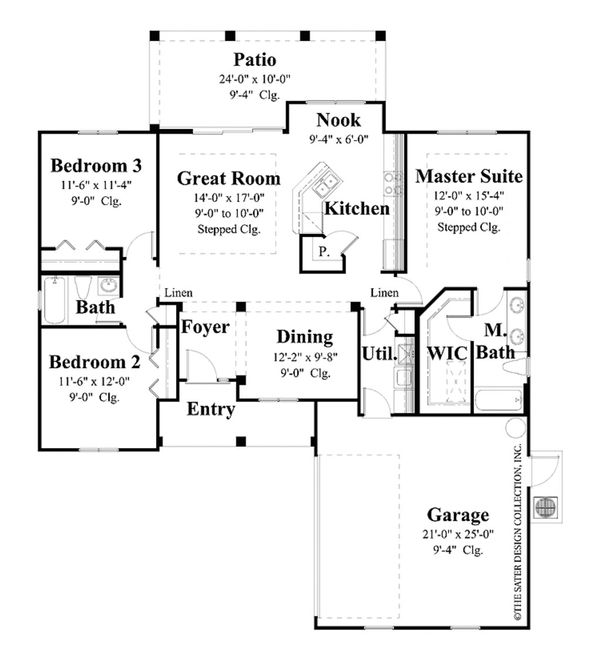 Country Style House Plan - 3 Beds 2 Baths 1446 Sq/Ft Plan #930-362 Floor Plan - Main Floor Plan