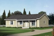 Ranch Style House Plan - 3 Beds 2 Baths 1288 Sq/Ft Plan #57-233 Exterior - Front Elevation