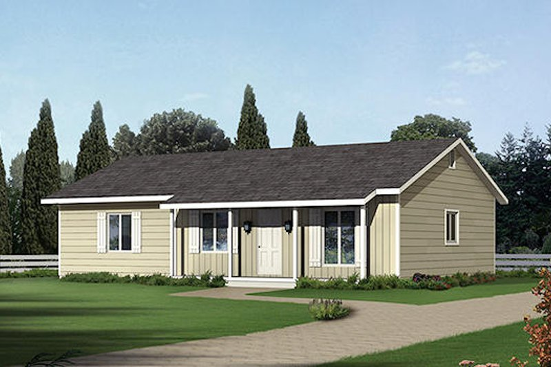 Ranch Style House Plan - 3 Beds 2 Baths 1288 Sq/Ft Plan #57-233