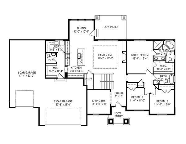 Craftsman Floor Plan - Main Floor Plan Plan #920-110