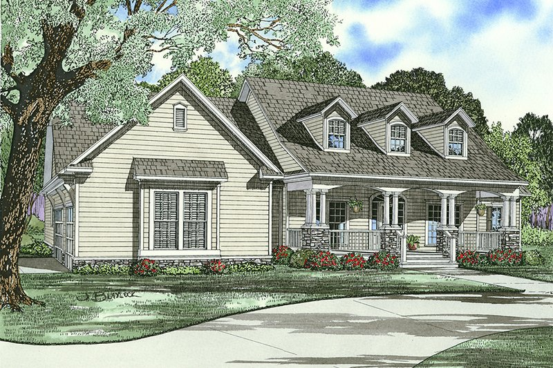 Country Style House Plan - 4 Beds 3 Baths 2373 Sq/Ft Plan #17-2143