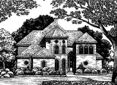 Mediterranean Style House Plan - 4 Beds 4 Baths 2588 Sq/Ft Plan #20-259 Exterior - Front Elevation