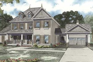 Colonial Exterior - Front Elevation Plan #17-2102