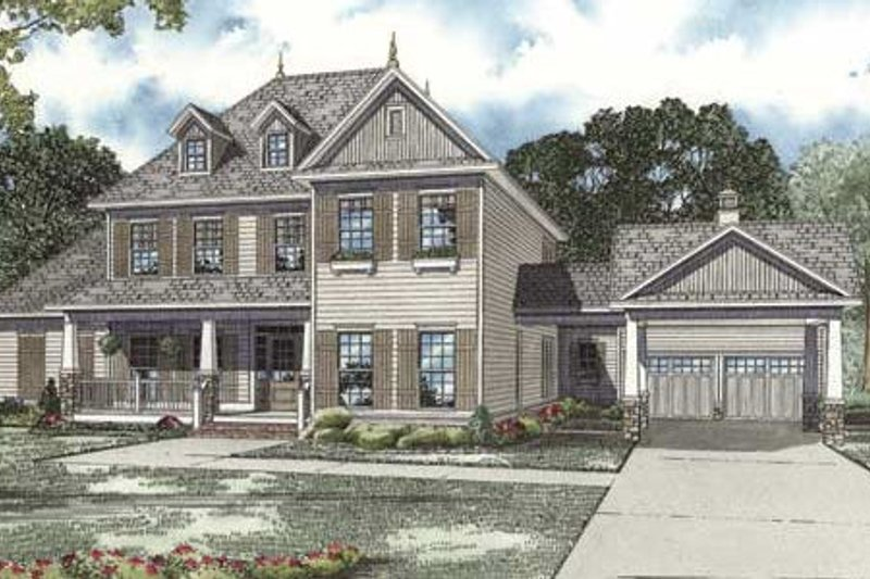 Colonial Style House Plan - 4 Beds 4 Baths 3970 Sq/Ft Plan #17-2102 Exterior - Front Elevation