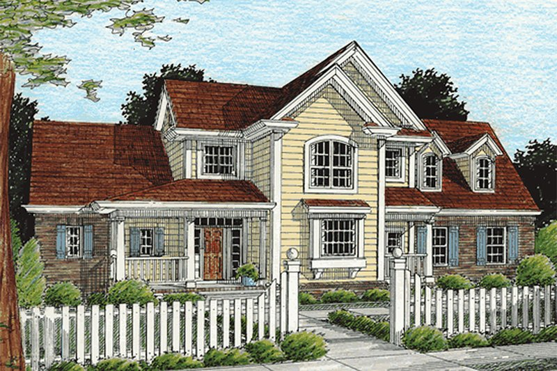 Country Style House Plan - 3 Beds 2.5 Baths 2023 Sq/Ft Plan #20-367 Exterior - Front Elevation