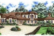 Mediterranean Style House Plan - 4 Beds 5 Baths 3472 Sq/Ft Plan #27-377 Exterior - Front Elevation