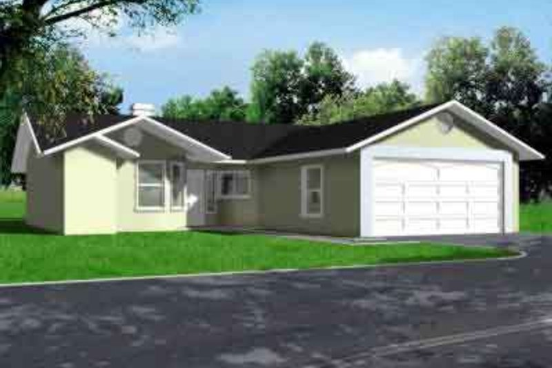 Ranch Style House Plan - 3 Beds 2 Baths 1258 Sq/Ft Plan #1-214 Exterior - Front Elevation